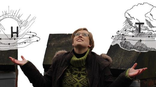 Julia Sieland auf dem Dach der Wetterwarte. Foto: Kübra Baysal, Illustration: Luise Schricker