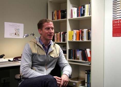 Andrew Sean Greer in his office. Photo: Christopher Hirsch