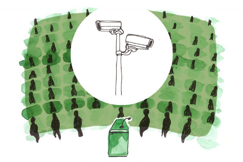 Thema öffentliche Sicherheit im offenen Hörsaal. Illustration: Luise Schricker