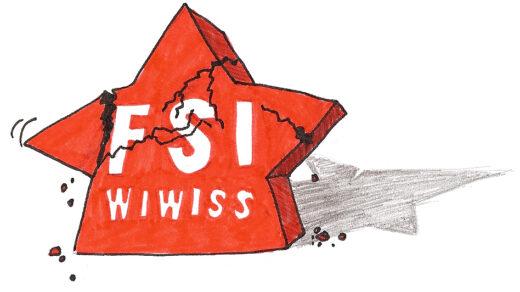 BU: Zoff in der FSI Wiwiss: Der rote Stern -- das Logo der Gruppe -- bekommt leichte Risse. Illustration: Luise Schricker