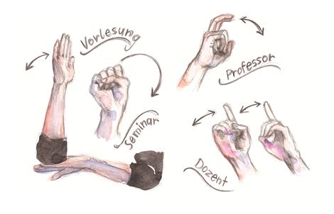 Diese Gebärden sind im Unialltag unentbehrlich. Illustration: Luise Schricker