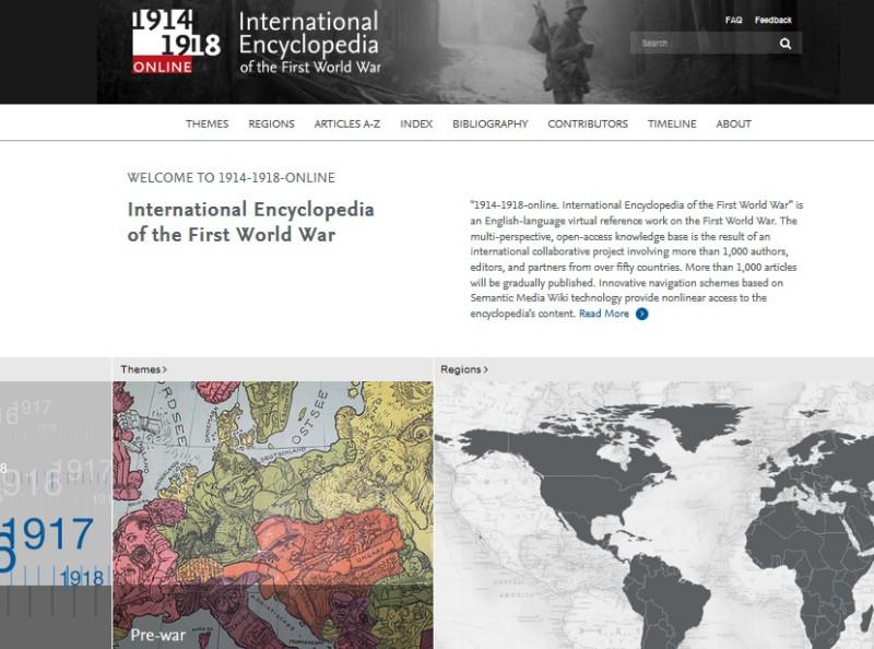 Von hieraus kann die Entdeckungsreise starten, bisher leider nur auf Englisch. Screenshot: http://encyclopedia.1914-1918-online.net/home/