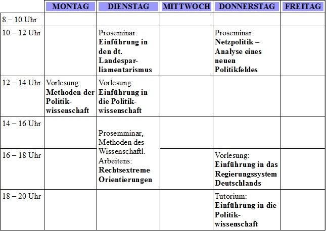 Markus Stundenplan aus dem ersten Semester.