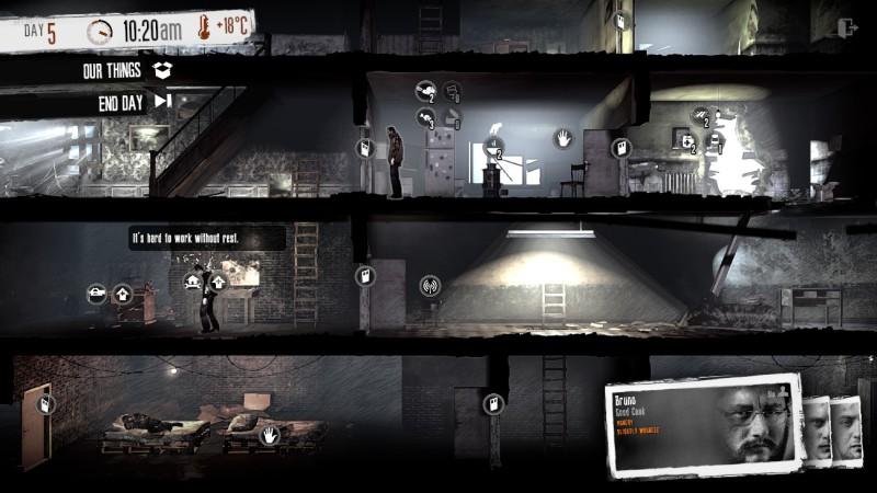 """Zivile Kriegsopfer sind die Protagonisten in """"This War of Mine"""". Screenshot: 11 bit studios"""
