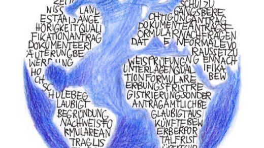 Wer sich aus aller Welt an der FU bewirbt, hat mit Bürokratie zu kämpfen. Illustration: Luise Schricker