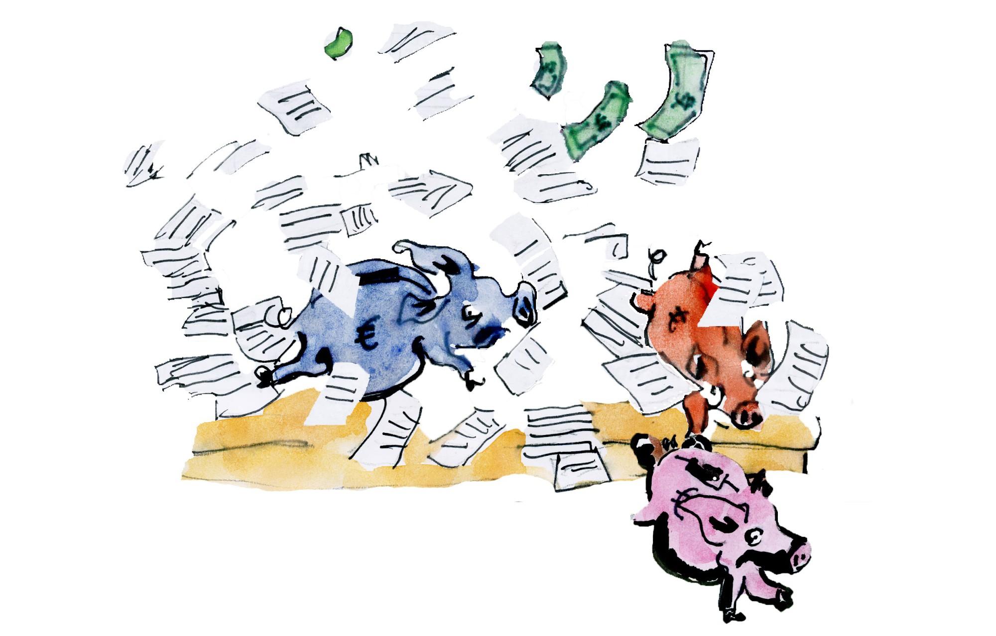 Viel Wirbel um das liebe Geld: der Strukturplan. Illustration: Julia Fabricius