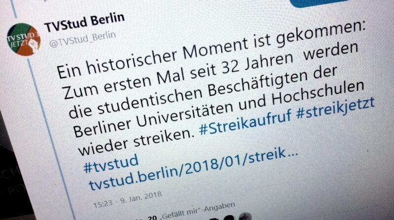 Am 9. Januar wird der Streikaufruf das erste Mal geteilt. Seitdem mobilisieren Gewerkschaften und Kampagne wie hier auf Twitter. Foto: Felix Lorber