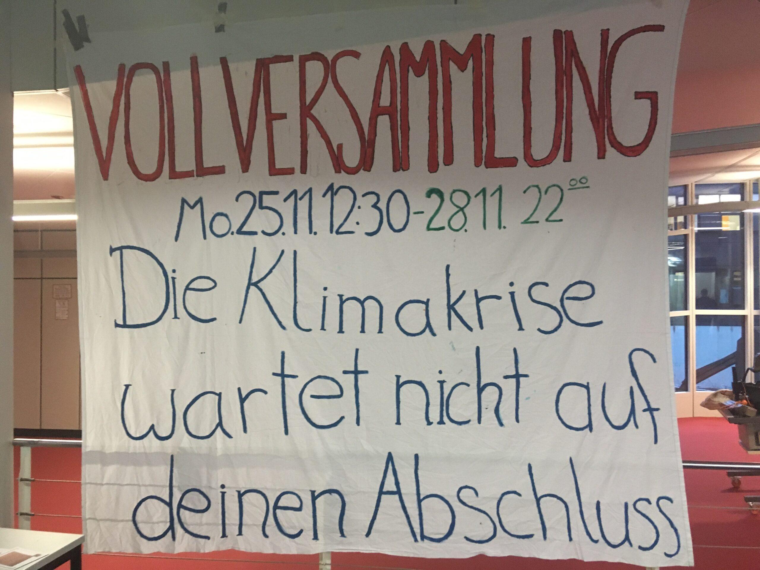 FFF FU Berlin veranstaltete eine Vollversammlung. Foto: Jette Wiese