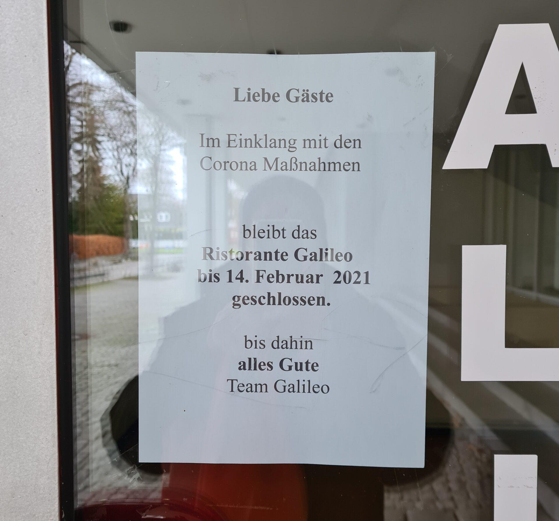 Leider geschlossen - das Galileo steckt aufgrund des Lockdowns in Schwierigkeiten. Bild: Privat
