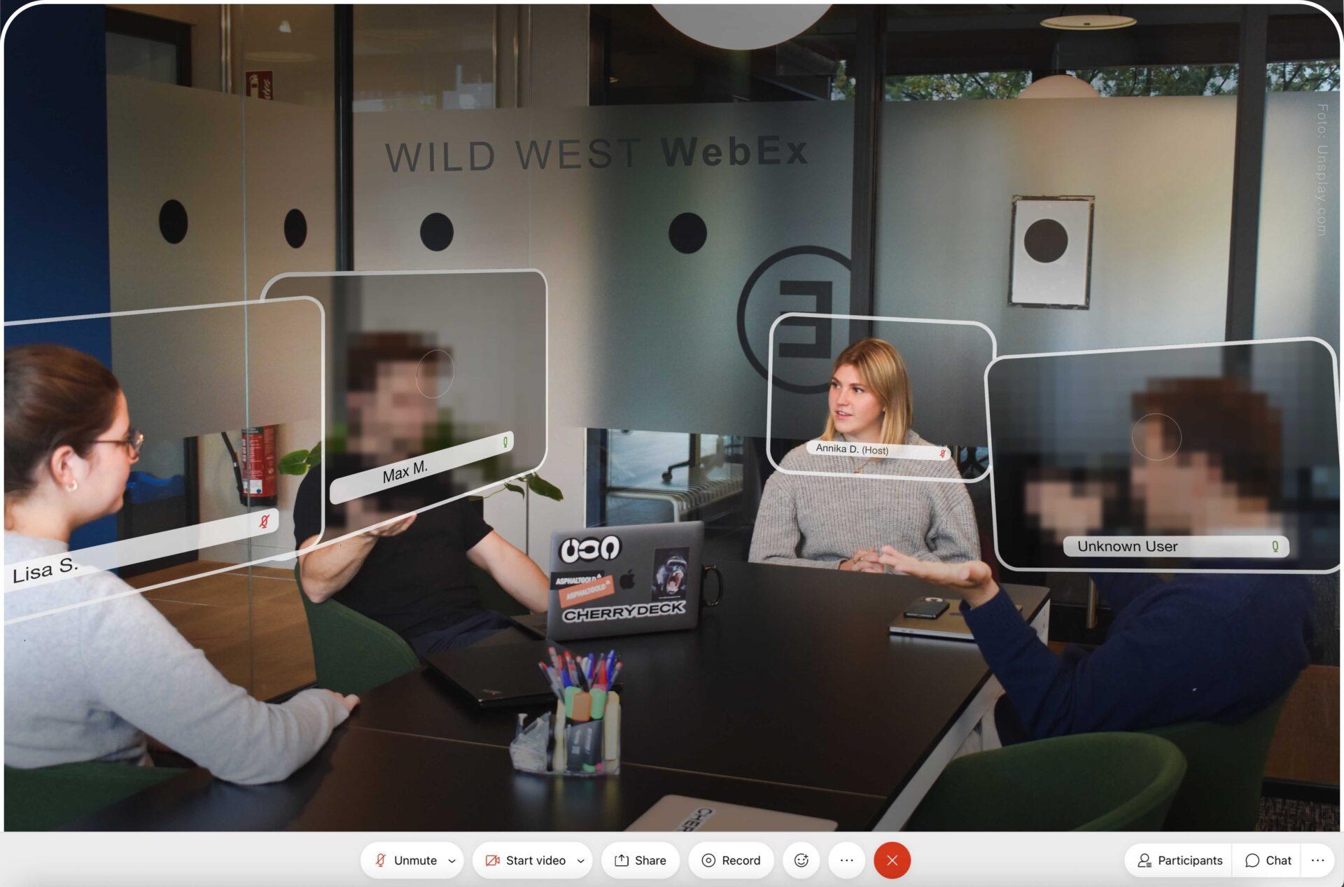 Mit wem spreche ich eigentlich gerade? Bei der Kommunikation über Webex ist dies nicht immer klar. Foto: Unsplash, Montage: Johannes Bauer